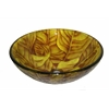 "Tempered Glass 1/2"" Thick, 16.5"" Diameter, 5.5"" Height Matching Chrome Pop-Up Drain And Mounting Ring, Yellow Leaf"