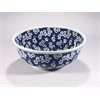 Porcelain Sink Bowl, Navy, White Flower