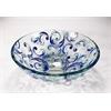 Legion furniture Glass Sink Bowl, Multi- Blue , Transluscent