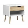 Tvilum Diana 1 Drawer Nightstand, White / Oak Structure