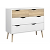 Diana 4 Drawer Chest, White / Oak Structure