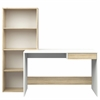 Whitney Desk with 4 Shelf Bookcase, White / Oak Structure