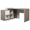 Function Plus Desk with 6 Shelf Bookcase, Truffle / White