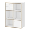 Toronto 5 Shelf Bookcase with 1 Door and 2 Drawers, White / Oak Structure