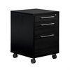 Prima 3 Drawer Mobile File Cabinet, Black Wood Grain