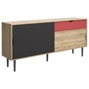 Unti 1 Drawer and 2 Door Sideboard, Oak Structure / Dark Grey / Teracotta