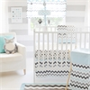 My Baby Sam Chevron in Aqua/Gray 3pc Crib Bedding Set