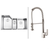 Ruvati RVC1582 Stainless Steel Kitchen Sink and Stainless Steel Faucet Set
