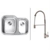 Ruvati RVC2507 Stainless Steel Kitchen Sink and Stainless Steel Faucet Set