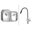 Ruvati RVC2509 Stainless Steel Kitchen Sink and Stainless Steel Faucet Set