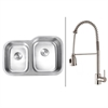 Ruvati RVC2518 Stainless Steel Kitchen Sink and Stainless Steel Faucet Set