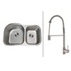 Ruvati RVC2537 Stainless Steel Kitchen Sink and Stainless Steel Faucet Set