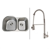 Ruvati RVC2538 Stainless Steel Kitchen Sink and Stainless Steel Faucet Set