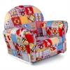 Upholstered Rocker with Slip Cover - Firefighter Patchwork