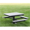 Frog Furnishings 4 ft. Gray T-Table With Black In-Ground Frame