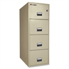 "Sentry Safe Vertical Fire File Cabinet - 19.6"" x 31"" x 53.6"" - 4 x Drawer(s) for File - Legal - Vertical - Water Resistant, Security Lock, Fire Proof, Recessed Handle, Label Holder - Putty"