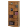 "Square-Edge Bookcase - 36.0"" x 12.0"" x 84.0"" - Particleboard, Wood - 7 x Shelf(ves) - Medium Oak"