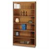 "Square-Edge Bookcase - 36.0"" x 12.0"" x 72.0"" - Particleboard, Wood - 6 x Shelf(ves) - Medium Oak"