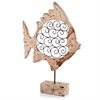 Modern Day Accents Voluta Iron Scroll Wood Fish on Stand