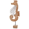 Voluta Iron Scroll Wood Seahorse on Stand