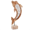 Modern Day Accents Voluta Iron Scroll Wood Dolphin on Stand
