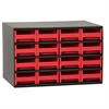 Akro-Mils Steel Cabinet w/ 16 Drawers, Red, Red