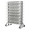 Akro-Mils Rail Rack, 2-Sided w/ 192 AkroBins 30220, Clear