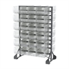 Akro-Mils Rail Rack, 2-Sided w/ 48 AkroBins 30240, Clear