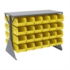 Akro-Mils Lvd Flr Rack 2-Sd,Shlf w/48 AkroBins, Gray/Yellow