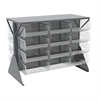 Lvd Flr Rack 2-Sd,Shlf w/24 AkroBins, Gray/Clear