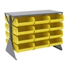 Akro-Mils Lvd Flr Rack 2-Sd,Shlf w/24 AkroBins, Gray/Yellow