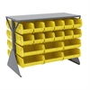 Akro-Mils Lvd Flr Rack 2-Sd,Shlf w/36 AkroBins, Gray/Yellow