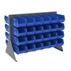 Akro-Mils Low Profile Flr Rack, 2-Sided-48 Bins, Gray/Blue