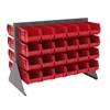 Akro-Mils Low Profile Flr Rack, 2-Sided-48 Bins, Gray/Red