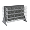 Low Profile Flr Rack, 2-Sided-48 Bins, Gray/Clear