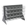 Akro-Mils Low Profile Flr Rack, 2-Sided-48 Bins, Gray/Clear