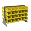 Akro-Mils Low Profile Flr Rack, 2-Sided-48 Bins, Gray/Yellow