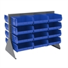 Akro-Mils Low Profile Flr Rack, 2-Sided-36 Bins, Gray/Blue