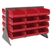 Akro-Mils Low Profile Flr Rack, 2-Sided-36 Bins, Gray/Red