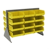Akro-Mils Low Profile Flr Rack, 2-Sided-24 Bins, Gray/Yellow