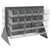 Akro-Mils Low Profile Flr Rack, 2-Sided-36 Bins, Gray/Clear