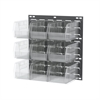 Akro-Mils Louvered Wall Panel, 18 x 19, w/9 Bins, Gray/Clear