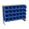 Low Profile Flr Rack Shelf, w/24 Bins, Gray/Blue