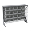 Akro-Mils Low Profile Flr Rack, Shelf w/24 Bins, Gray/Clear