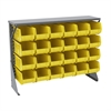 Low Profile Flr Rack, Shelf w/24 Bins, Gray/Yellow