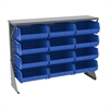 Akro-Mils Low Profile Flr Rack, Shelf w/12 Bins, Gray/Blue