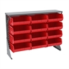 Akro-Mils Low Profile Flr Rack, Shelf w/12 Bins, Gray/Red