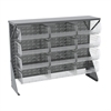 Akro-Mils Low Profile Flr Rack, Shelf w/12 Bins, Gray/Clear