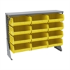 Akro-Mils Low Profile Flr Rack, Shelf w/12 Bins, Gray/Yellow