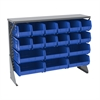 Low Profile Flr Rack, Shelf w/18 Bins, Gray/Blue